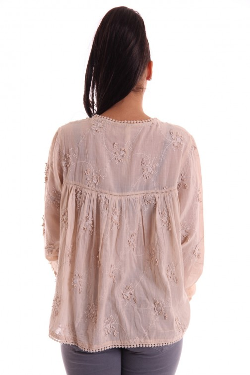 Isla Ibiza blouse in stone met ingeweven patroon