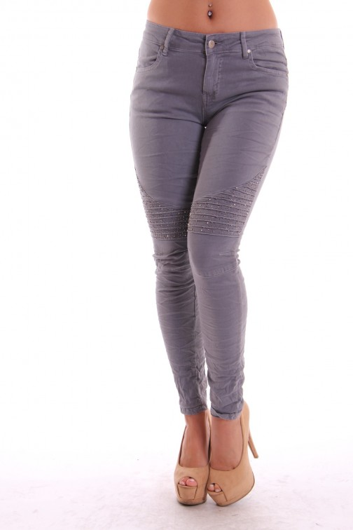 Grijze stretch jeans met kristallen in bikerlook