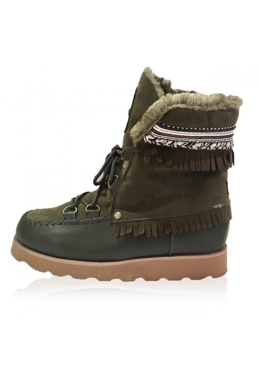 Jacky Luxury boots met bont in army