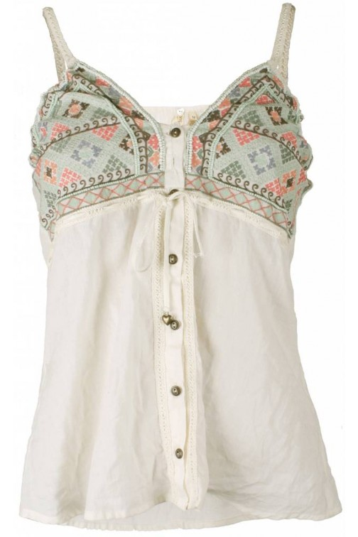 Isla Ibiza geborduurde top in cream