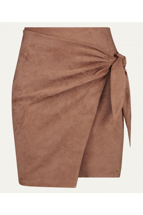 Josh V Jenner skirt in dark blush suède