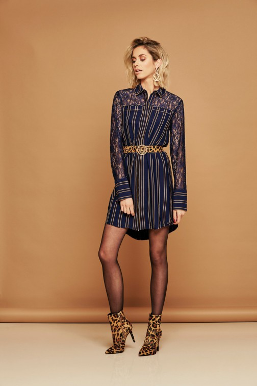 Josh V Emmi jurk in navy stripe