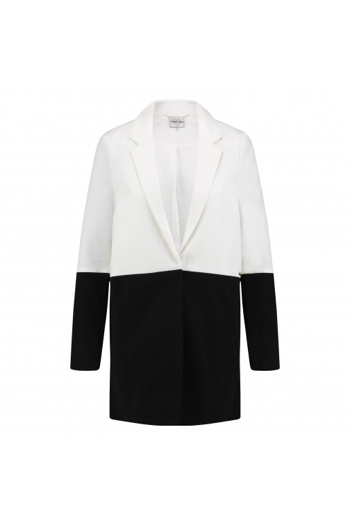 Tailor & Elbaz Long blazer, Briony in wit-zwart