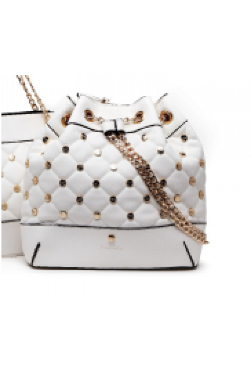 Doorgestikte TRC bucketbag met studs in wit