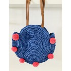 Round beachbag with pompons in blauw