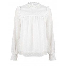 Jacky Luxury blouse met ruffle in wit