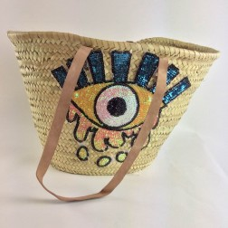 Beachbag met pailletten, EYE - small