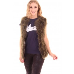 Ibana Louise gilet van veertjes in army green