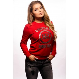 Rich! sweater in rood - silver logo