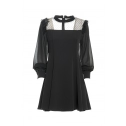 Fracomina Flare dress met kant in zwart