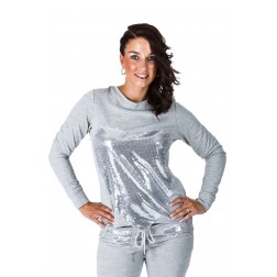 Jacky Luxury sweater in grijs met paillettenhart.