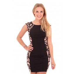 Lipsy London Cornelli dress in zwart & nude