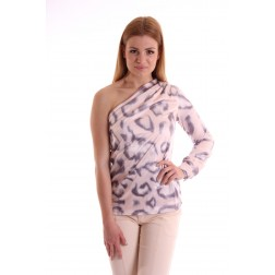 Josh V one-shoulder blouse ALIZA - leopard Blush