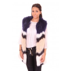B.loved bontgilet in blauw, wit en taupe