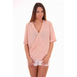 Jacky Luxury overslag blouse in powder