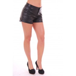 Jacky Luxury shortje in zwart leer.