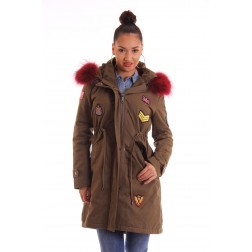 Limited Edition jacky Luxury winterjas met rood bont en badges