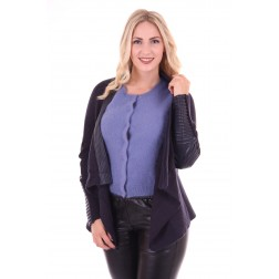 Jacky Luxury vest met leer in navy