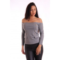 Supertrash Tourney offshoulder top in grijs