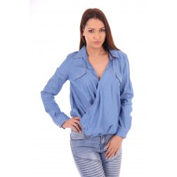 Jacky Luxury overslag blouse in denim