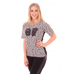 Fracomina BF top in Panterprint, zwart-wit
