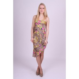 Strapless fracomina dress in flowery leopard print.