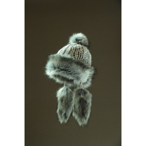 knitted hat with furry flaps