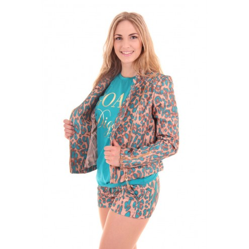 Josh V jacket, Jill in turquoise leopard, Sahara collection