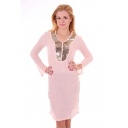 Jacky Luxury jurk in roze met pailletten: Beachdress