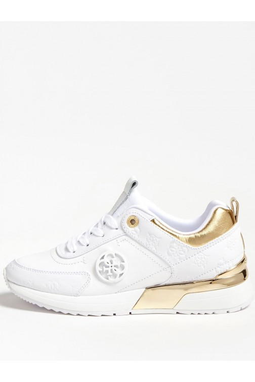 Guess Marlyn sneakers in Weiß und Gold