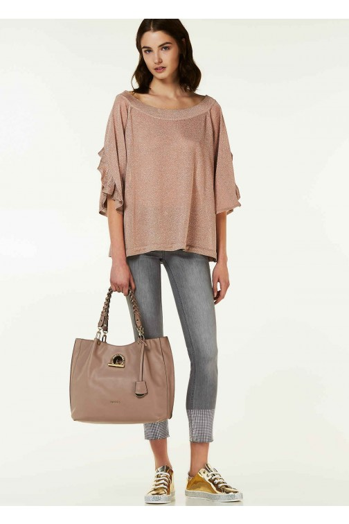 Liu Jo Eclipse jumper, lurex in rosé goud