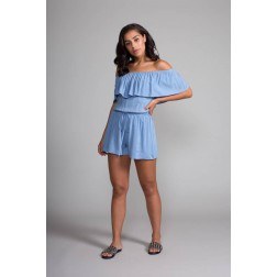 Jacky Luxury off-shoulder playsuit blue