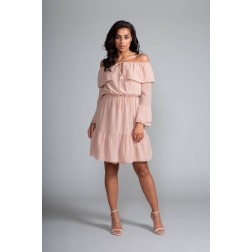 Jacky Luxury off-shoulder jurkje in nude